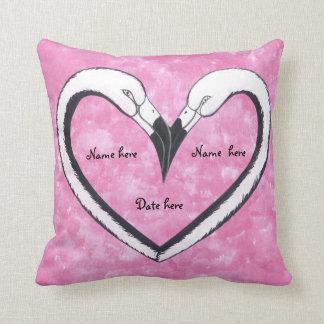 kissing flamingo heart pillow cushions