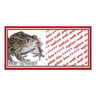 Kissing Frog - Pucker Up, Honey! Customised Photo Card