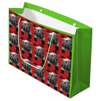Kissing Horses wearing Santa Claus Hats Large Gift Bag