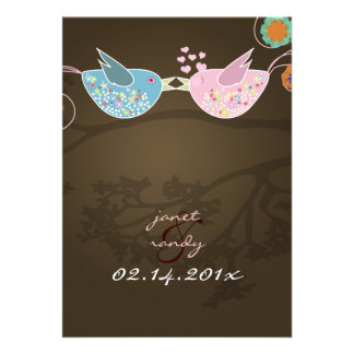 Kissing Love Birds floating hearts/mocha Announcement