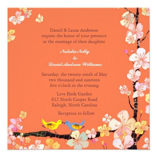 Kissing Love Birds Orange Wedding Invitations