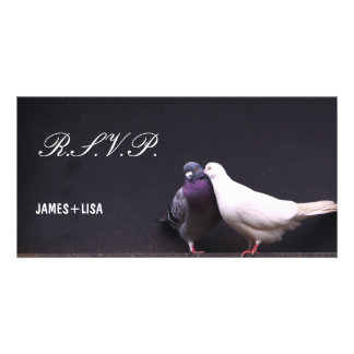 Kissing Love Birds Personalized Photo Card