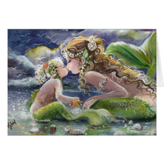 Kissing Mermaid and Child Card