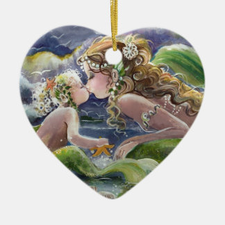Kissing Mermaid & Baby Ornament