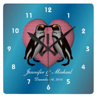 Kissing Penguins Pink Heart Wedding Clocks