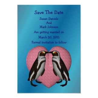 Kissing Penguins Wedding Save The Date 5x7 Paper Invitation Card