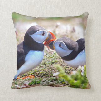 Kissing Puffins Pillow