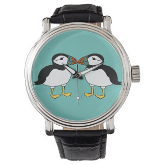 Kissing puffins wrist watches