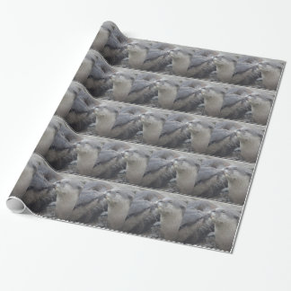 Kissing River Otters Wrapping Paper