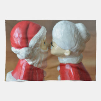 Kissing Santas Tea Towel