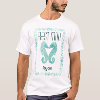 Kissing Seahorses Best Man Beach Wedding Tee