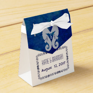 Kissing Seahorses Favor Box  With Navy Back