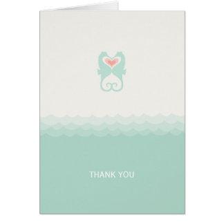 Kissing Seahorses Hearts Beach Wedding Thank You Card