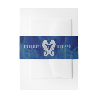 Kissing Seahorses Invitation Belly Band in Navy