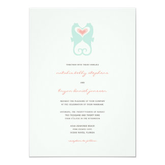 Kissing Seahorses Love Hearts Beach Summer Wedding 13 Cm X 18 Cm Invitation Card