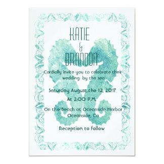 Kissing Seahorses Wedding Invitation in Turquoise