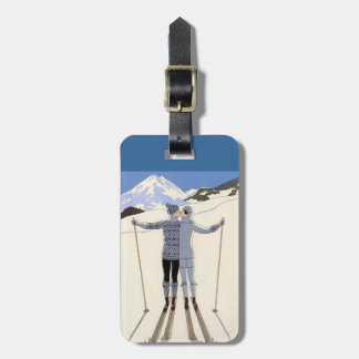 kissing skiers - vintage travel poster luggage tag