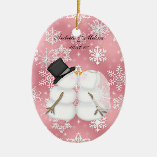 Kissing Snowmen Married Our First Christmas Ceramic Oval Decoration