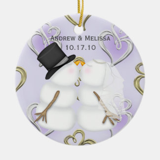 Kissing Snowmen Married Our First Christmas Round Ceramic Decoration