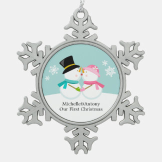 Kissing Snowmen Newlyweds First Christmas Ornament