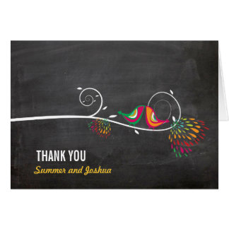 Kissing Summer Birds Chalkboard Wedding Thank You Note Card