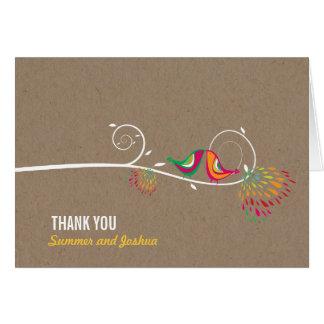 Kissing Summer Birds Kraft Paper Wedding Thank You Note Card