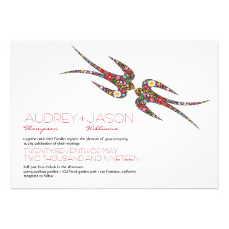 Kissing Swallows Spring Flowers Wedding Invite Custom Announcements
