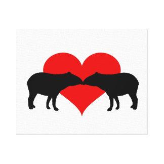Kissing Tapirs Canvas Print