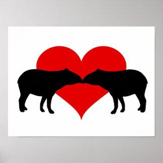 Kissing Tapirs Poster