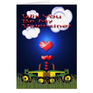 Kissing Tractors under Hearts Greeting Card