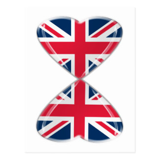 Kissing UK Hearts Flags Postcard