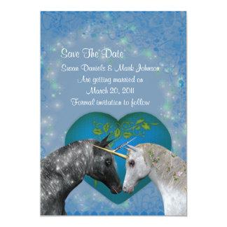 Kissing Unicorns Wedding Save The Date 5x7 Paper Invitation Card