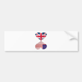 Kissing USA and UK Hearts Flags Art Bumper Sticker