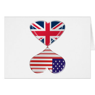 Kissing USA and UK Hearts Flags Art Cards