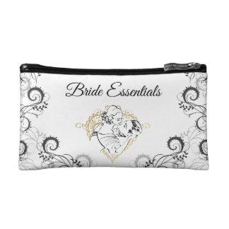 Kissing Vintag Couple Bride Essentials Cosmetic Bag