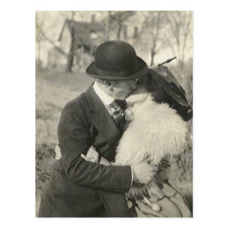 kissing with fur postcard
