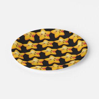 Kissy Face Star Emoji 7 Inch Paper Plate
