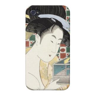 Kitagawa Utamaro Insect Cage japanese beauty lady Case For iPhone 4