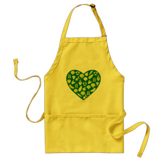Kitchen apron with green vegetable Heart