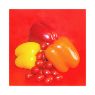 Kitchen Art Yellow and Red Peppers Gallery Wrapped Canvas