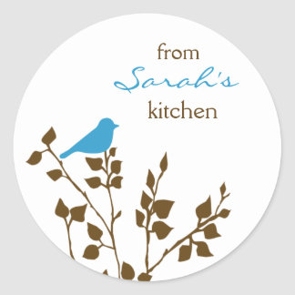 Kitchen Baking Canning Cute Aqua Brown Bird Classic Round Sticker