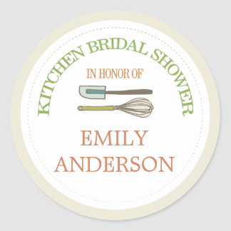 Kitchen Bridal Shower Round Sticker