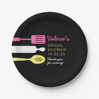 Kitchen bridal shower table decor, pink yellow paper plate