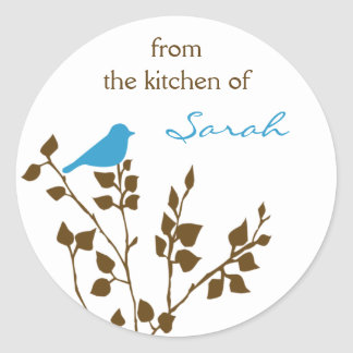 Kitchen Canning Blue Bird Personalized Name Round Sticker