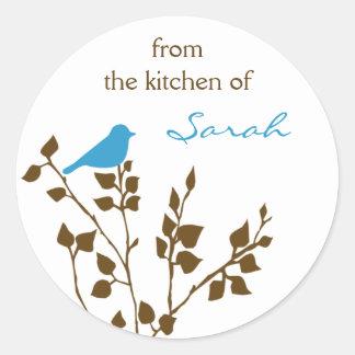 Kitchen Canning Blue Bird Personalized Name Round Sticker