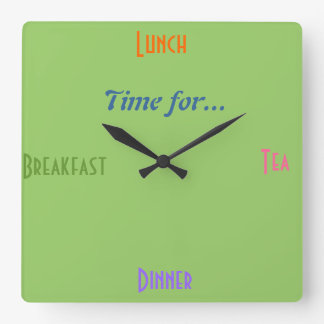 Kitchen Clock~A gift for Foodies Diner Restaurant Square Wall Clock