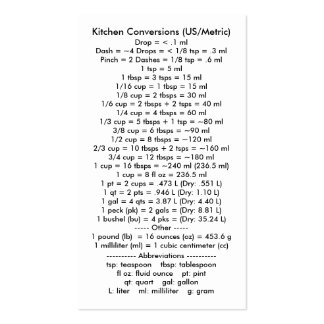 Kitchen Conversions I (US/Metric) Double-Sided Standard Business Cards (Pack Of 100)