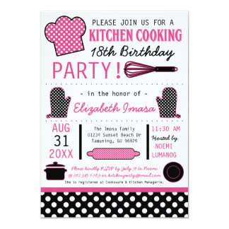 Kitchen Cooking Birthday Party 13 Cm X 18 Cm Invitation Card