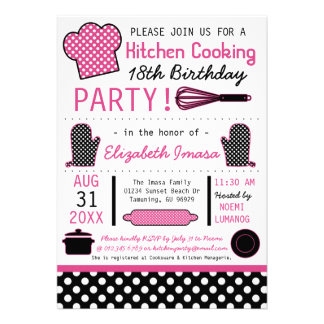 Kitchen Cooking Birthday Party Invite