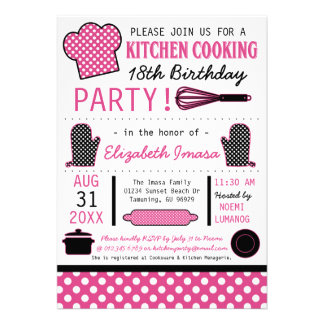 Kitchen Cooking Birthday Party Custom Announcement